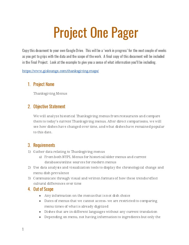 Project One Pager