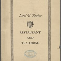 Menu of Lord & Taylor Restaurant and Tea Rooms: August 1914