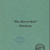 Menu of The Forest Grill Restaurant: June 1914