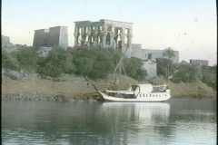 Temple of Philae and boat
