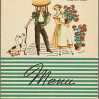 The Terrace Room Menu Art, 'Swiss Cheese goes to town, riding on a 'oiseau'' - April 24, 1940 (2)